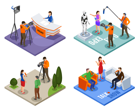 Illustration pour Broadcasting 2x2 design concept set of talk show news expo and street interview isometric compositions - image libre de droit