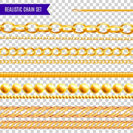 Illustration pour Set of isolated realistic chain transparent colourful images with golden jewelry various patterns and different shapes vector illustration - image libre de droit