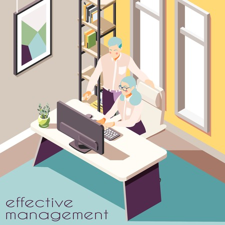 Illustration pour Effective management isometric background with indoor view of room with two human characters furniture and text vector illustration - image libre de droit