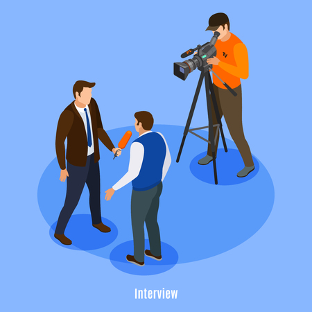 Illustration pour Broadcast telecommunication isometric background with shooting crew and man giving interview vector illustration  - image libre de droit