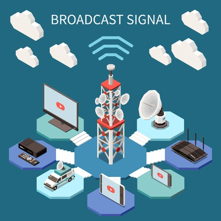 Illustration pour Broadcasting isometric composition with satellite aerials and electronic devices 3d vector illustration - image libre de droit