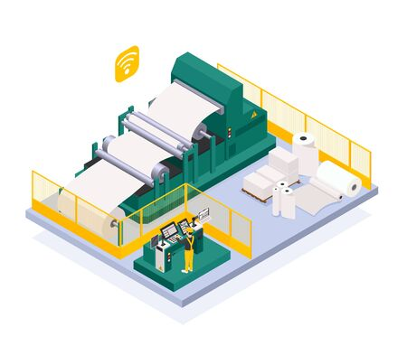 Illustration pour Paper production industry with newspaper and press symbols isometric  vector illustration - image libre de droit