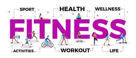 Illustration pour Fitness lettering title header active lifestyle advertising horizontal composition with people practicing workout yoga sport vector illustration - image libre de droit