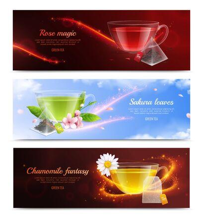Ilustración de Tea brewing bag realistic banner set with rose magic sakura leaves and chamomile fantasy headlines vector illustration - Imagen libre de derechos