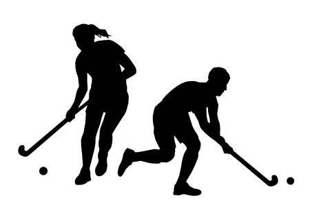 Illustration pour Illustration - field hockey players  - image libre de droit