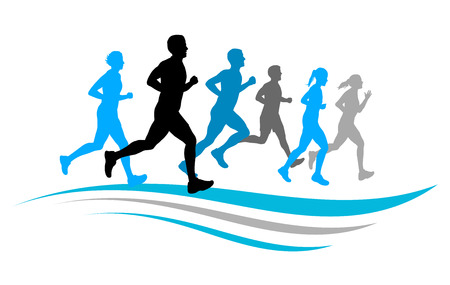 Ilustración de running people - Imagen libre de derechos