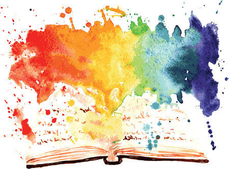 Ilustración de watercolor painted book containing a whole worlds - Imagen libre de derechos