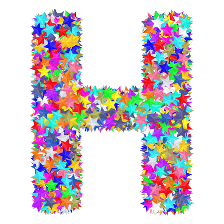Photo pour Alphabet symbol letter H composed of colorful stars isolated on white. High resolution 3D image - image libre de droit