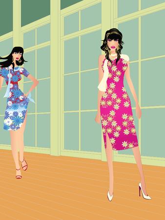 Two high fashion models on fashion runaway