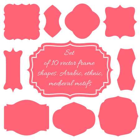 Illustration for Set of ten vector frames, shapes, wedding boards - Royalty Free Image