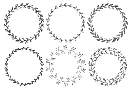 Illustration pour Set of hand drawn vector round floral wreaths. - image libre de droit