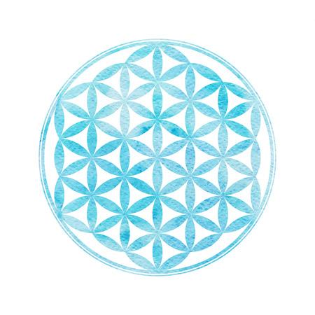 Illustration pour Flower Of Life. Sacred geometry. Vector element with watercolor texture - image libre de droit