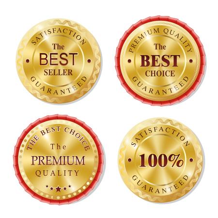 Illustration pour Set of Realistic Round Golden Badges, Stickers, Rewards. The Best Choice, Premium Quality. Shining brilliant classic design. - image libre de droit