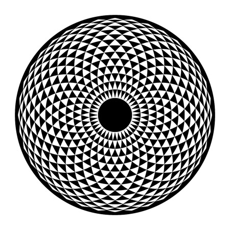 Illustration pour Torus Yantra, Hypnotic Eye sacred geometry basic element. Vector illustration for coloring book. Torus mandala, spiritual drawings. - image libre de droit