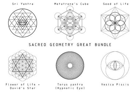 Ilustración de Sacred Geometry Great Bundle. Black geometry on white background with titles. - Imagen libre de derechos