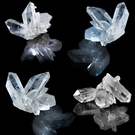 Photo pour Collection of white natural rock crystal with reflection on black surface background - image libre de droit