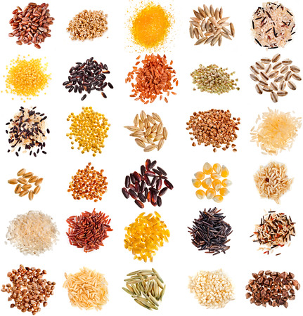 Foto de Collection Set of Cereal Grains and Seeds Heaps: Rye, Wheat, Barley, Oat, Corn, Flax, Millet, Rice, Buckwheat, Quinoa closeup isolated on white background - Imagen libre de derechos