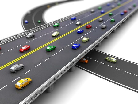 Photo pour 3d of road way with several cars driving - image libre de droit