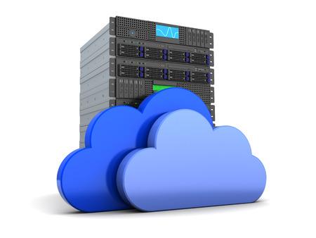 Foto de 3d illustration of server computer and cloud symbol, over white - Imagen libre de derechos