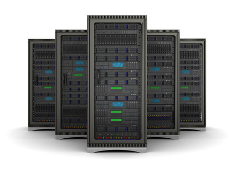 Foto de server racks standing in a row on a white background - Imagen libre de derechos