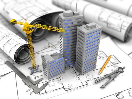 Foto de 3d illustration of city construction and planning concept - Imagen libre de derechos