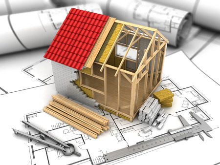 Photo pour 3d illustration of frame house model over blueprints background - image libre de droit