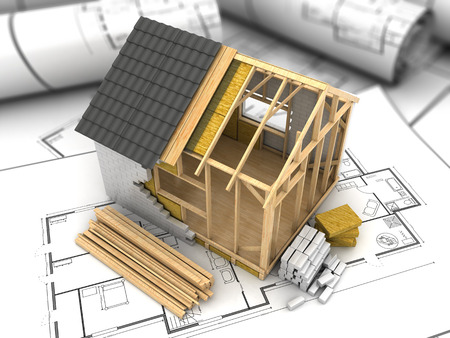 Foto de 3d illustration of modern frame house project model - Imagen libre de derechos