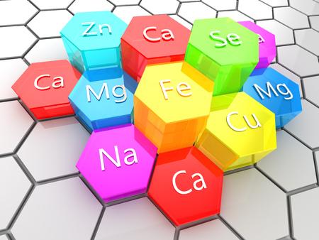 Photo pour abstract 3d illustration of nutrition minerals supplement - image libre de droit