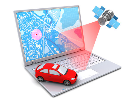 Photo pour 3d illustration of car location tracking with laptop and satellite - image libre de droit
