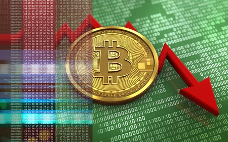 Photo for 3d illustration of bitcoin over green binary background with failure diagram - Royalty Free Image