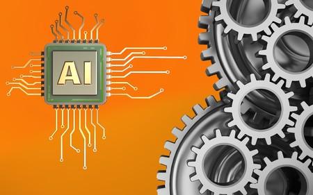 Foto de 3d illustration of  over orange background with mechanic - Imagen libre de derechos