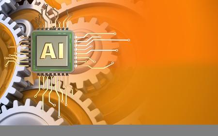 Foto de 3d illustration of  over orange background with gears - Imagen libre de derechos