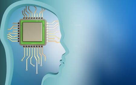 Foto de 3d illustration of chip over blue background with - Imagen libre de derechos