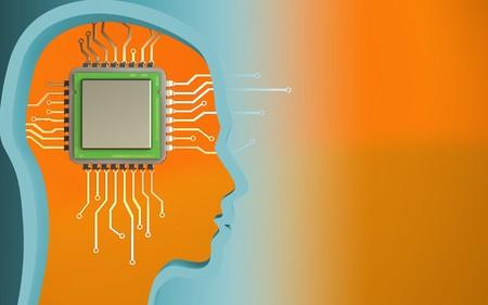 Foto de 3d illustration of chip over orange background with - Imagen libre de derechos