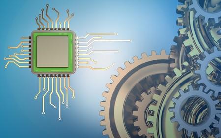 Foto de 3d illustration of chip over blue background with gears system - Imagen libre de derechos