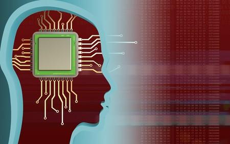 Foto de 3d illustration of chip over red background with - Imagen libre de derechos