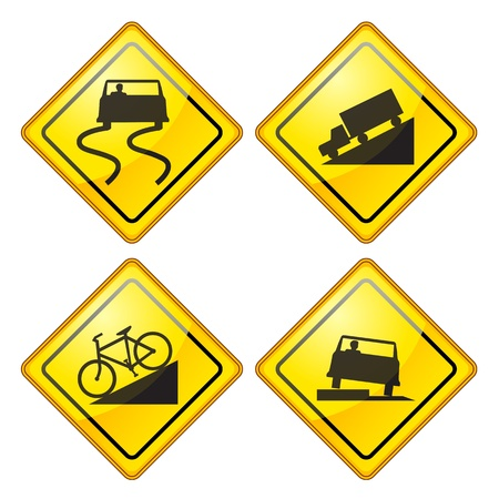 Illustration pour set of warning Road Sign Glossy - image libre de droit