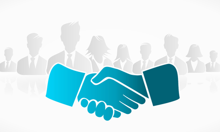 Illustration pour Handshake with a group of people in the background - image libre de droit