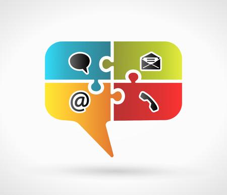 Illustration pour Website and Internet contact us speech symbol concept with contact icons  - image libre de droit