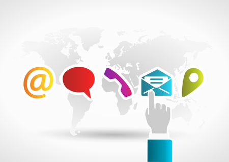 Illustration pour Contact us concept with hand touching mail icon on world background - image libre de droit