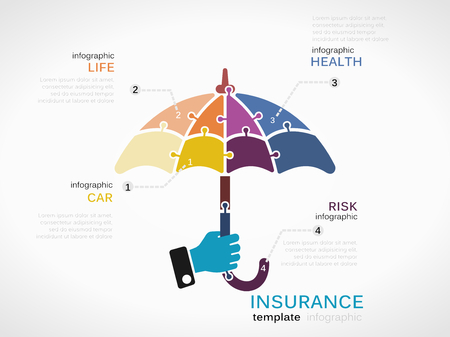 Ilustración de Insurance concept infographic template with umbrella made out of puzzle pieces - Imagen libre de derechos