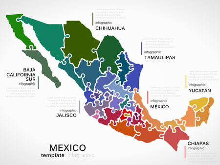 Illustration for Map of Mexico concept infographic template with states made out of puzzle pieces - Royalty Free Image