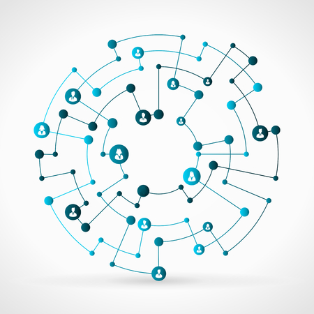 Illustration pour Abstract illustration of blue business network grid - image libre de droit