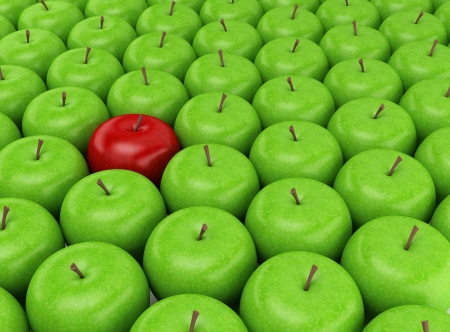 Photo for One red apple selected on the background of green apples - Royalty Free Image