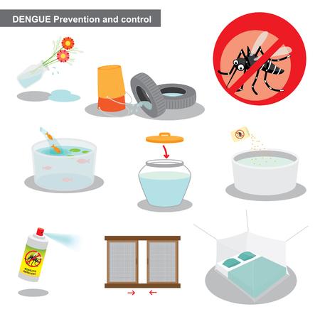Ilustración de zika and dengue prevention and control - Imagen libre de derechos