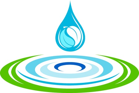 Illustration art of a water ripples logo with isolated background