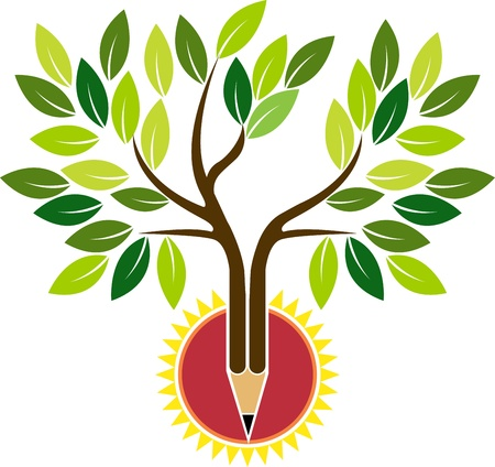 Photo pour Illustration art of a pencil tree with isolated background  - image libre de droit