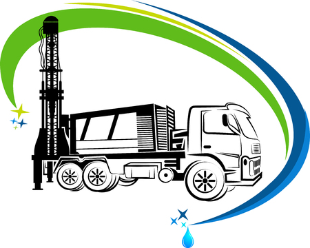 Illustration pour well drilling truck icon with isolated background - image libre de droit