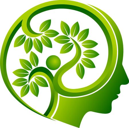 Illustration pour Illustration art of a human head leaf icon. - image libre de droit
