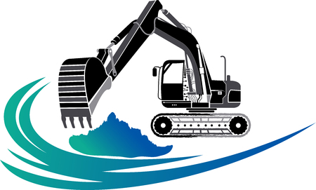 Illustration pour Illustration art of a Excavator icon with isolated background - image libre de droit